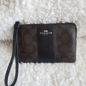 Coach Black & Brown Signature Corner Zip Wristlet